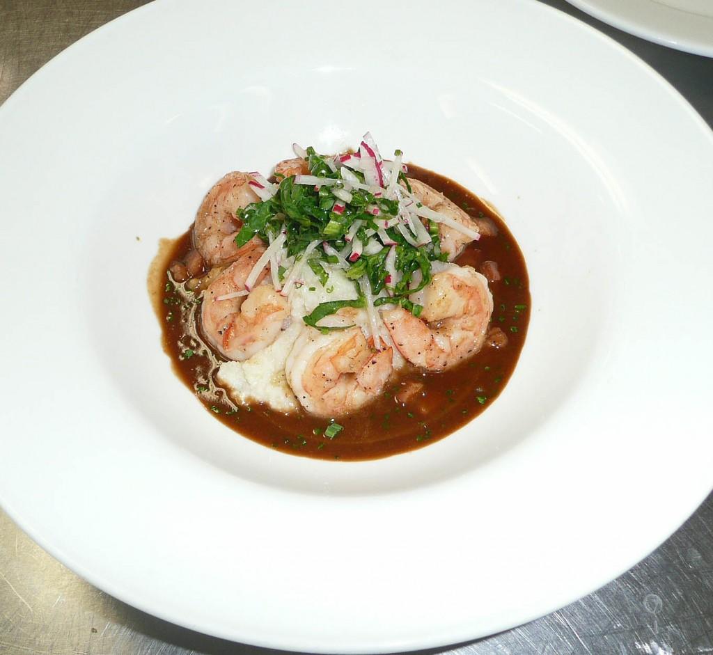 Shrimp and Grits with asiago cheese grits, sauteed Gulf shrimp, fried ...